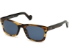 Moncler ML0122 Sunglasses in 50V - Warm Brown W. Amber Stripes/ Polarized Blue Lenses