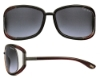 Tom Ford FT0077 Genevieve Sunglasses in (U49) Black Backspray Pearl Red with Dark Ruthenium Endpiece / Gradient Grey Lenses