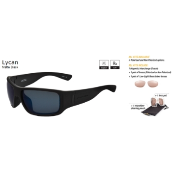 Switch Lycan Matte Black / True Color Grey Reflection Blue Polarized Glare Kit Sunglasses
