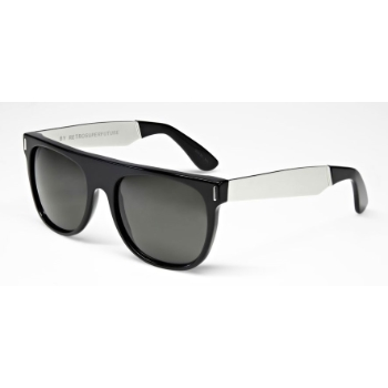 Super Flat Top Black/Silver Metal & Black 766 Sunglasses