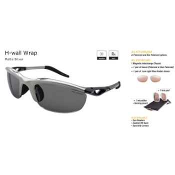 Switch H-Wall Wrap Matte Silver/True Color Grey Reflection Silver Non Polarized Sun Kit Sunglasses