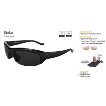 Switch Stoke Shiny Black/True Color Grey Reflection Silver Polarized Non Polarized Sun Kit Sunglasses