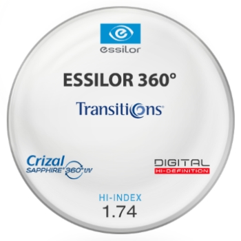 Essilor Essilor 360 Transitions® SIGNATURE VII - [Gray] Hi-Index 1.74 With Crizal Saphire AR Lenses