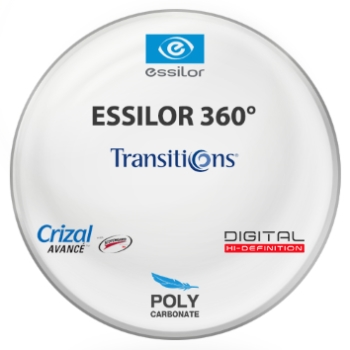 Essilor 360 Digital Transitions® 7™ VII Grey Polycarbonate w/ Crizal Avancé AR Lenses