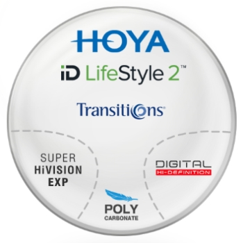 Hoya Hoyalux iD Harmony Transitions® SIGNATURE VII - [Gray or Brown] Polycarbonate Progressive W/ Super Hi Vision AR Lenses
