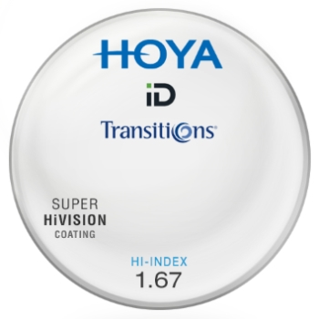 Hoya® ID Hi-Index Plastic 1.67 Aspheric Transitions ® SIGNATURE VII [Gray or Brown] W/ Super HiVision AR Lenses