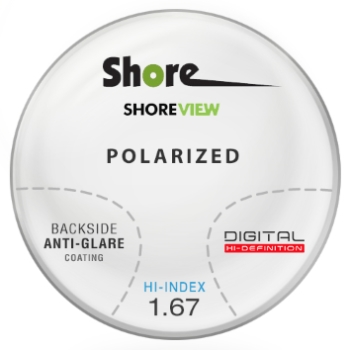 Shore Lens Shore View Digital High Index 1.67 thin polarized (Grey or Brown) Progressive W/ Back Side AR Coating Lenses