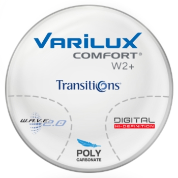 Varilux Varilux Comfort W2+ Transitions® SIGNATURE 8 [Grey, Brown, or Green] Polycarbonate Progressive Lenses