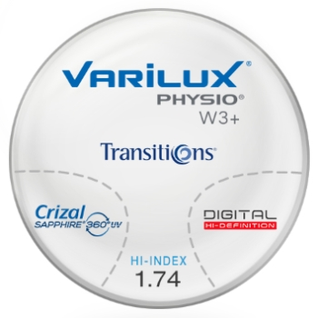 Varilux Varilux Physio W3+ Transitions Grey signature VII Hi-Index 1.74 W/Crizal Sapphire AR Progressive Lenses