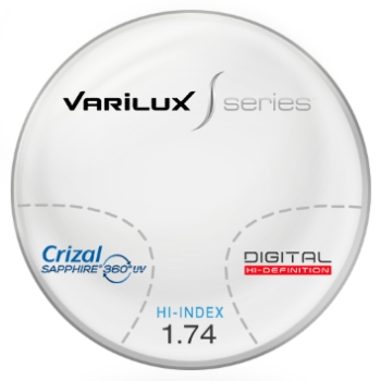 Varilux S Design Hi-Index 1.74 Progressive W/ Crizal Saphire AR Coating Lenses