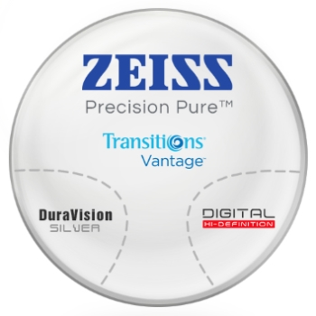 Zeiss Zeiss® Precision Pure™ Transitions® Vantage™ Polarizing Gray Polycarbonate Progressive W/ Zeiss DuraVision Silver AR Lenses