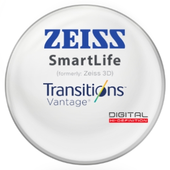 Zeiss Zeiss® SmartLife (3D) Transitions® Vantage™ Polarizing Gray - CR-39 Plastic Lenses