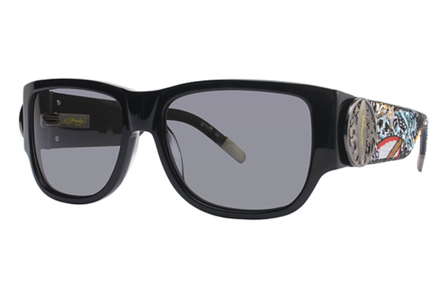 Ed Hardy EHS 040 SURF OR DIE Sunglasses in Black / Grey (BLK)