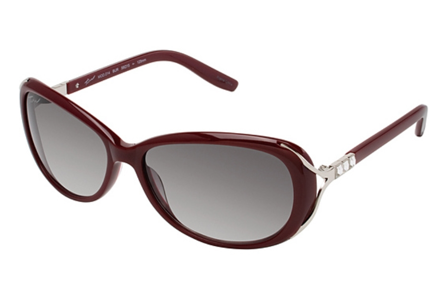 Tura 014 Sunglasses in BURGUNDY/SEMI MATTE SILVER