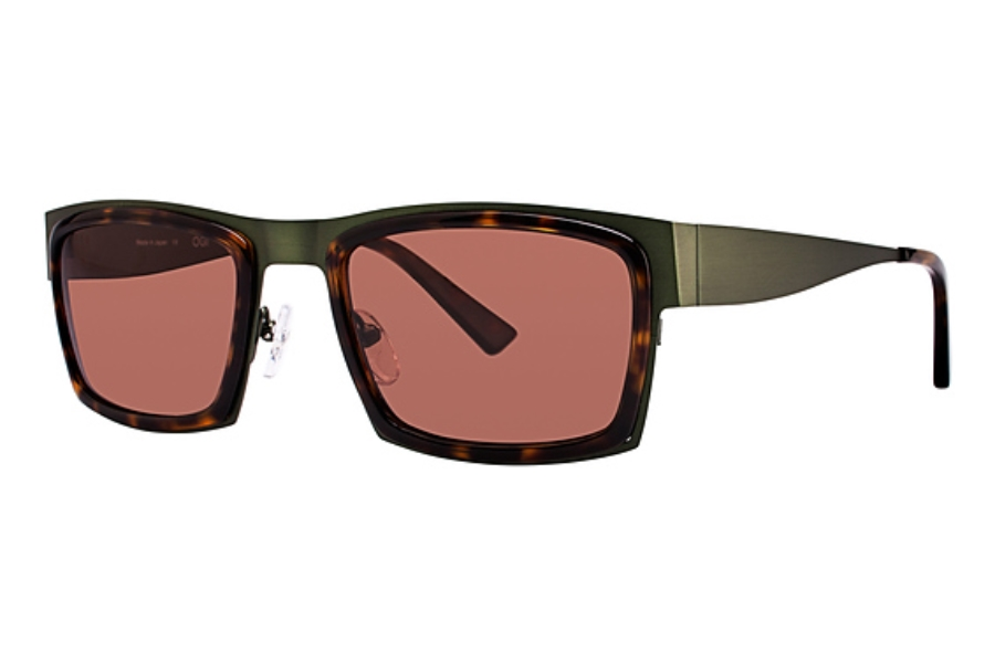 OGI Eyewear 8053 Sunglasses in 1374 Dark Olive/Dark Tortoise w/Brown Lenses