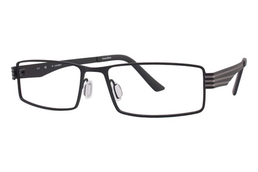 J K London Green Park Eyeglasses in Black with Silver Striped Sides