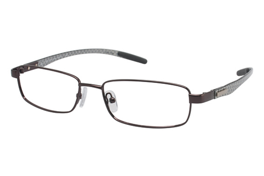 Tura T104 Eyeglasses in Brown/Silver Carbon Fiber