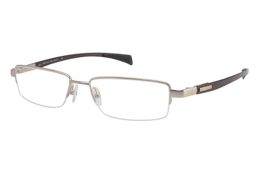 Tura Mens T105 Eyeglasses in ANG Antique Gold/Brown Carbon Fiber