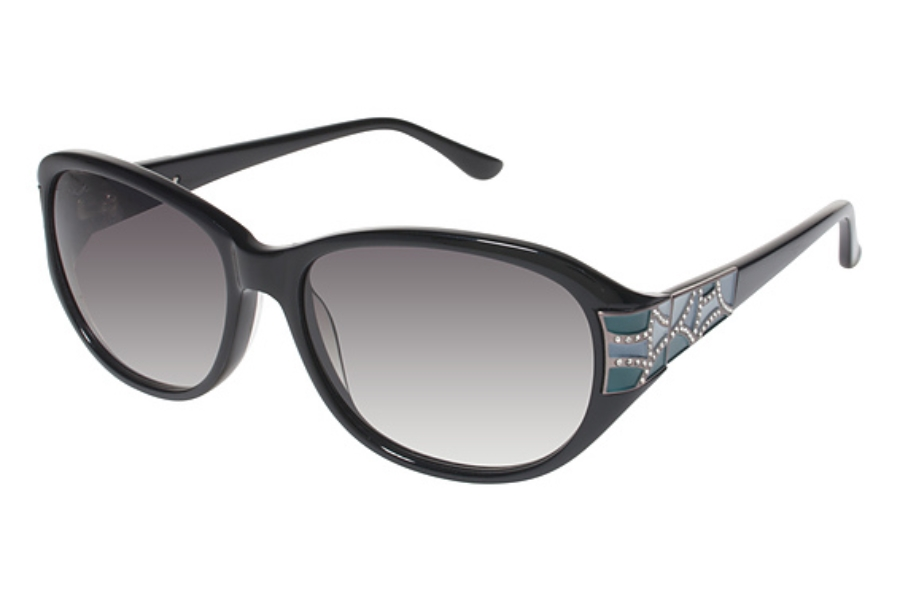 Tura 032 Sunglasses in BLK Black w/ Teal