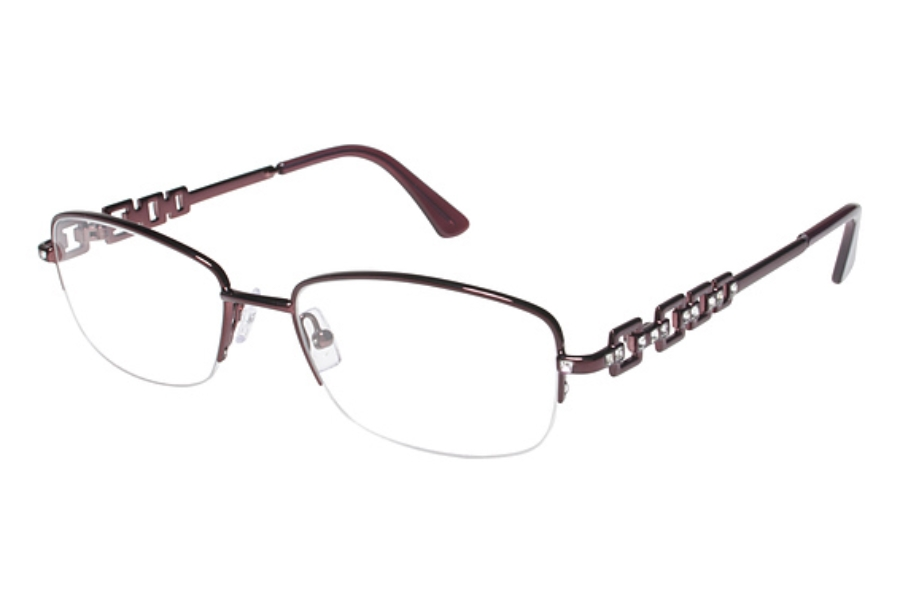 Tura TE218 Eyeglasses in BUR Burgundy w/ Crystal