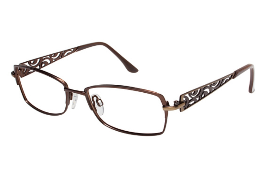 Tura R109 Eyeglasses in Dark Khaki green with brown