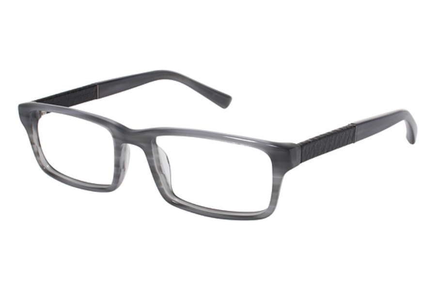 Tura Mens T123 Eyeglasses in SMK Smoke w/Black Leather (Discontinued)