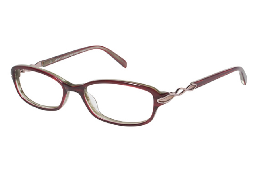 Tura R304 Eyeglasses in Burgundy with Rose