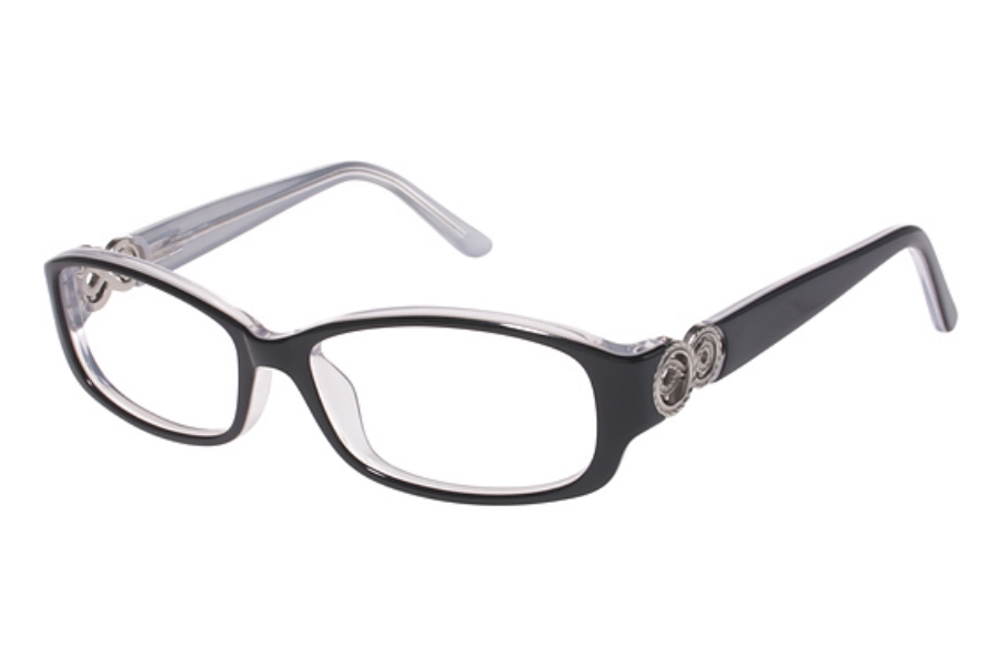 Tura R508 Eyeglasses in BLK Black w/ Silver