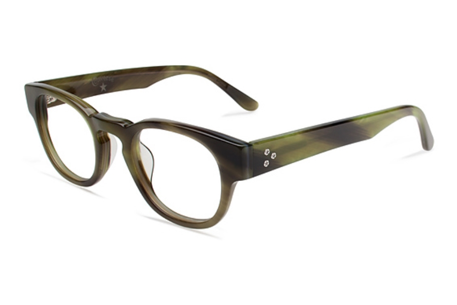 Converse Black Canvas Z001 Eyeglasses in Olive Horn