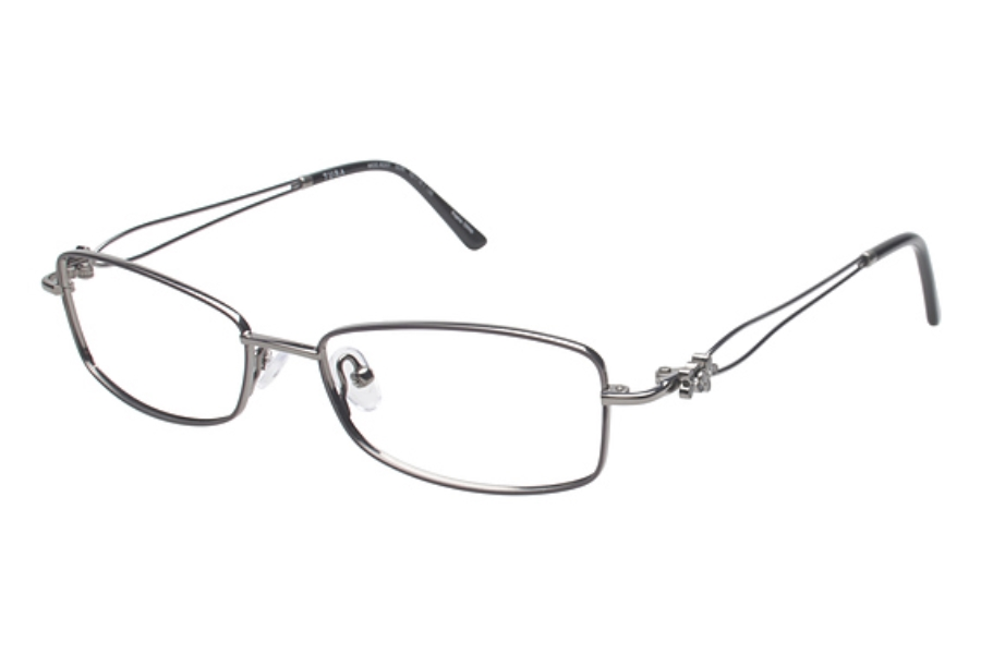 Tura R207 Eyeglasses in GUN Gunmetal w/ Black Flowers
