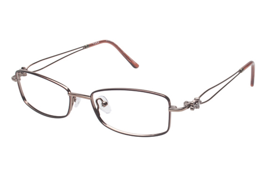 Tura R207 Eyeglasses in BUR Light Burgundy w/ Red Flowers