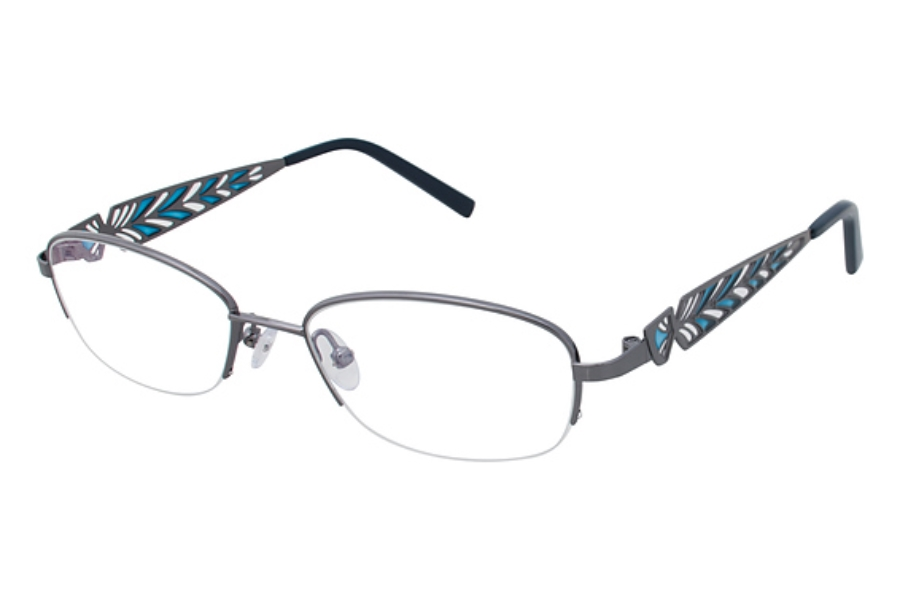 Tura R113 Eyeglasses in GUN Gun/Teal