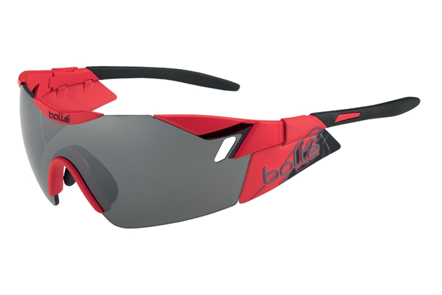 Bolle 6th Sense Sunglasses in 12074 Matte Red/Black TNS Gun OLEO AF Lens