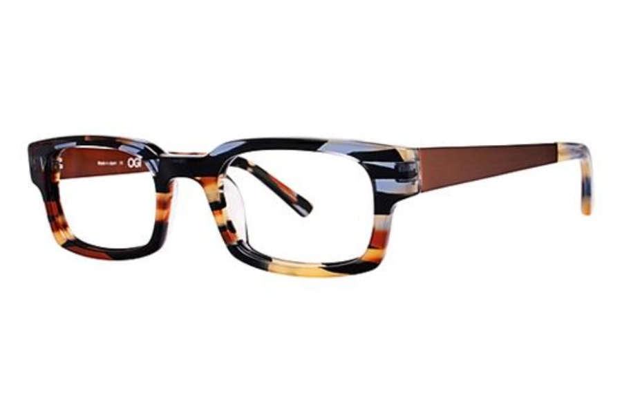OGI Eyewear 7147 Eyeglasses in 1333 - BLUE-YELLOW-ORANGE CAMOUFLAGE/DARK BROWN