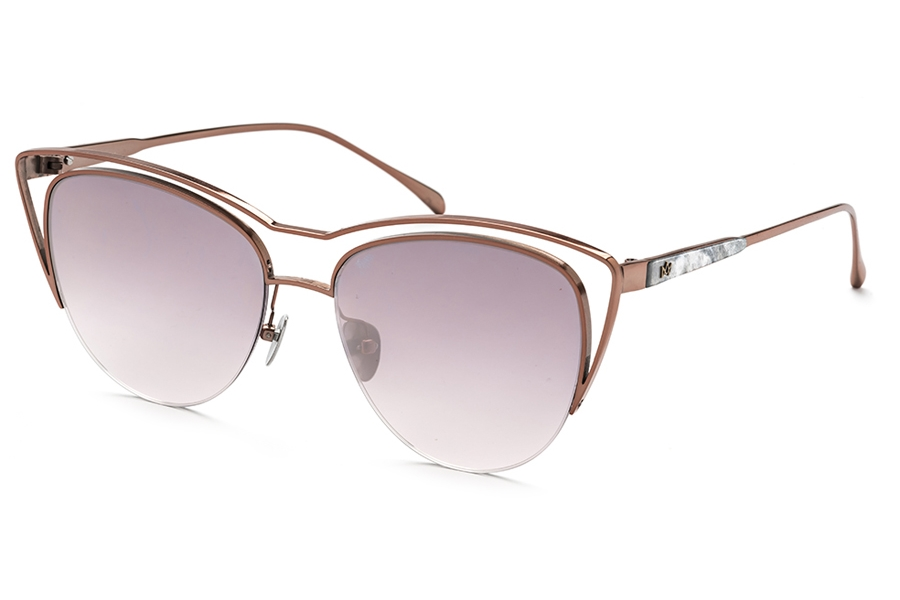 AM Eyewear Dede Sunglasses in Rose Gold / Silver Mirror