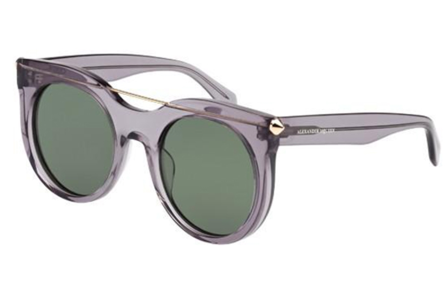 Alexander McQueen AM0001S Sunglasses in 002 Transparent Grey with Green Lens