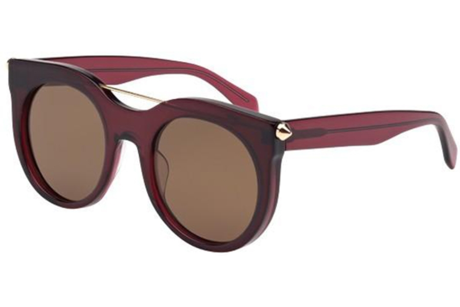 Alexander McQueen AM0001S Sunglasses in 004 Transparent Burgandy with Brown Lens