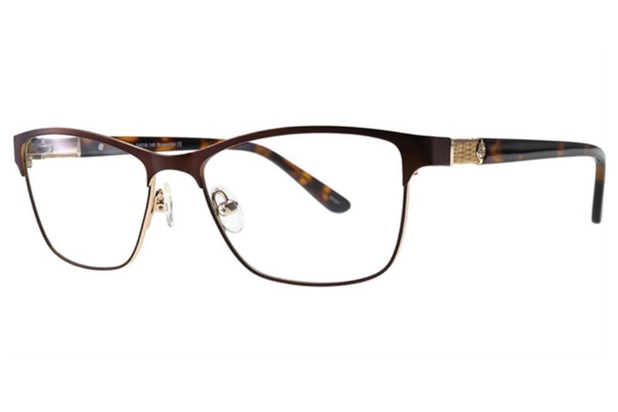 0762045cdeb6 ... Adrienne Vittadini AV1230 Eyeglasses in Brown Gold ...