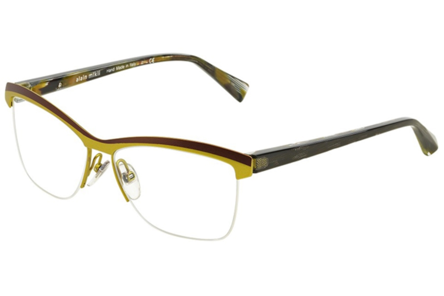 Alain Mikli A02012 Eyeglasses in 0106 Matt Brown/Green