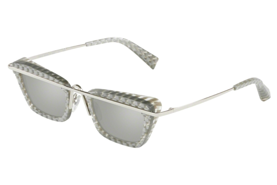 Alain Mikli A04013 Sunglasses in 002/6G Silver Damier/Sivler/Light Grey Mirror Silver