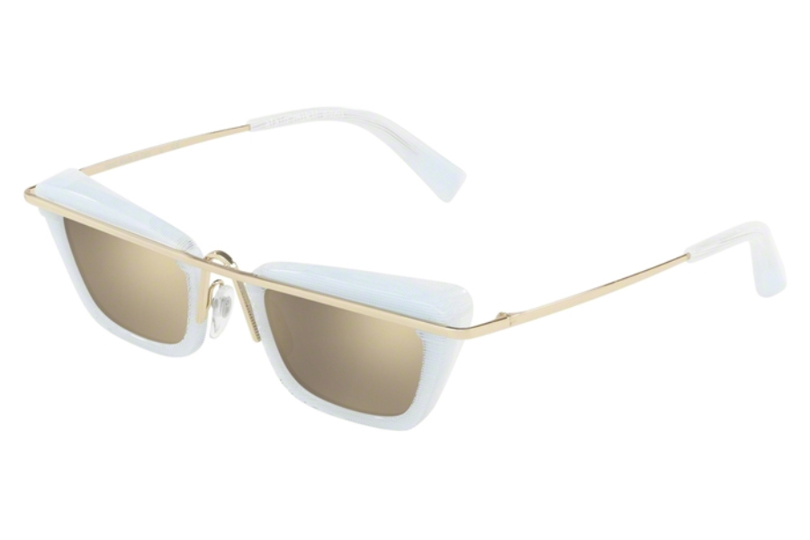 Alain Mikli A04013 Sunglasses in 004/5A White Pointille/Light Gold/Light Brown Mirror Gold