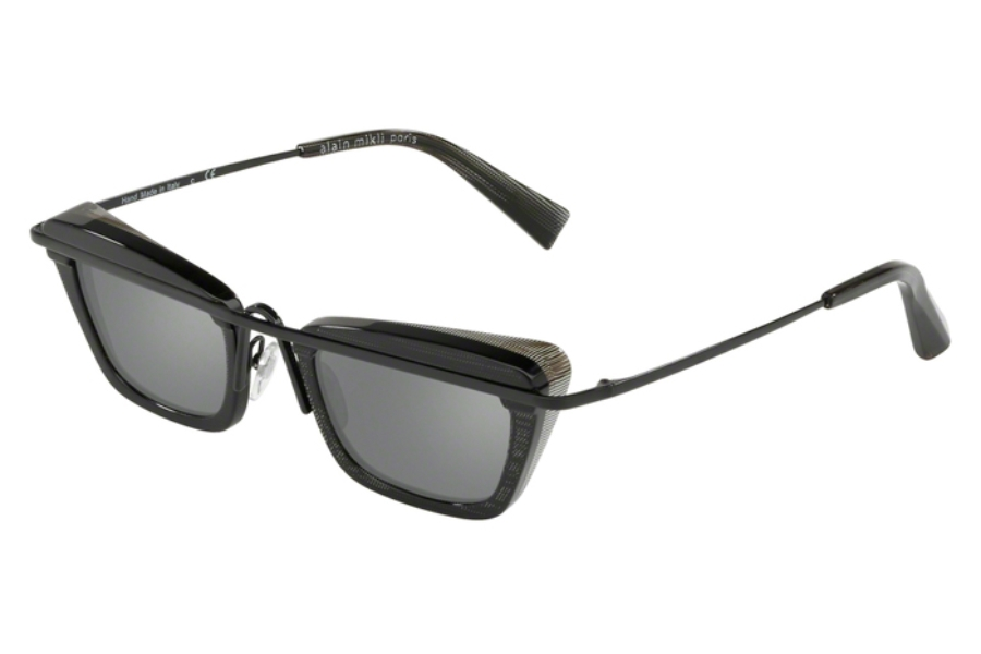Alain Mikli A04013 Sunglasses in 005/6G Black Pointille/Black/Grey Mirror Silver