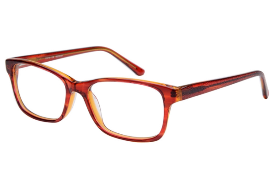 Amadeus A1003 Eyeglasses in REDS/OR Red Stripe over Orange