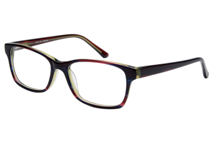 Amadeus A1003 Eyeglasses in REDS/GN Red Stripe over Green