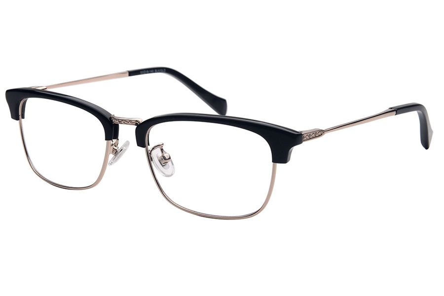 Amadeus A1006 Eyeglasses in BLK/GLD Black Zyl Over Gold Metal