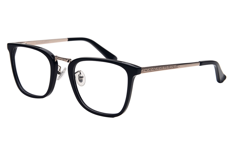 Amadeus A1008 Eyeglasses in BLK/GLD Shiny Black