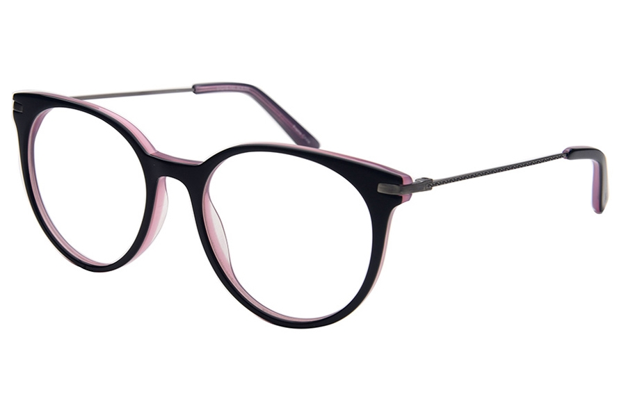 Amadeus A1010 Eyeglasses in BLK/AS Shiny Black Over Purple