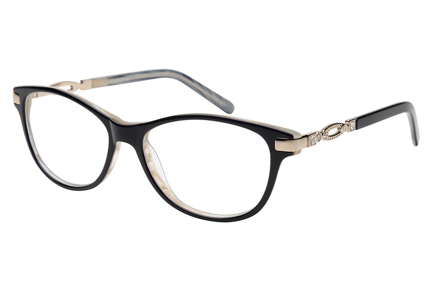 Amadeus A1017 Eyeglasses in BLK/GLD Shiny Black with Gold Temple