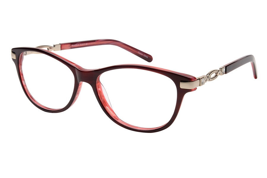 Amadeus A1017 Eyeglasses in RED/GLD Burgundy with Gold Temple