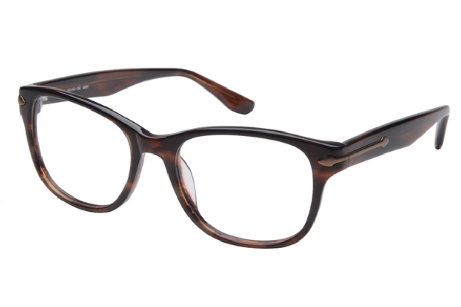 Amadeus A982 Eyeglasses in BRN Amber w/Matte Brown Eye Wire